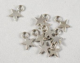 10 - 14 x 10mm silver metal star charms
