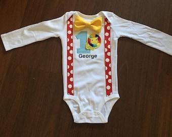 Circus Embroidered First birthday, Boys birthday outfit, Baby boy first birthday, Circus party, circus lion, circus animal