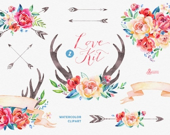 Love Kit 2. Watercolor Clipart, peonies, arrows, antlers, heart, bouquets, valentines, wedding, floral, card, diy clip art, flowers, spring