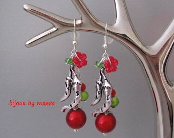 costume jewelry earrings red and green red eared Chili
