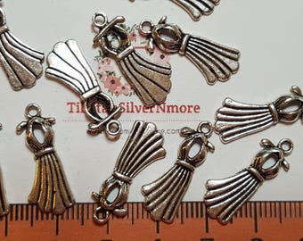 24 pcs per pack 22x9mm Backless Dress Charm Antique Silver Finish Lead Free Pewter