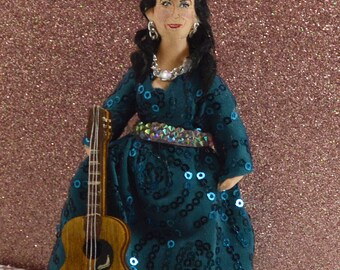 Country Music Singer Loretta Lynn Doll Miniature Art Collectible Celebrity Figure