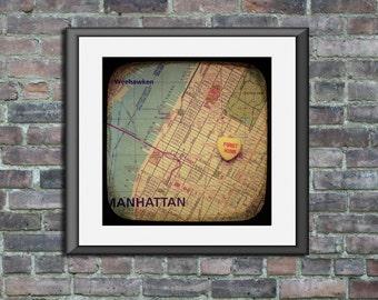 Map art print first kiss Rockafeller Center New York City Manhattan candy heart custom engagement wedding anniversary gift wall decor