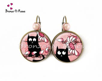Black cat and Ant bronze rose cabochon stud earring earrings