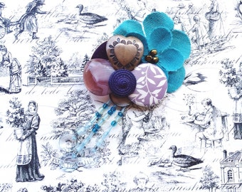 Blue and Purple Floral Brooch made with Recycled Jewelry, Vintage Buttons, Found Object Wearable Art