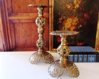 Vintage Brass Candlesticks, Boho Chic Candlesticks , Hollywood Regency, Pillar Candleholders