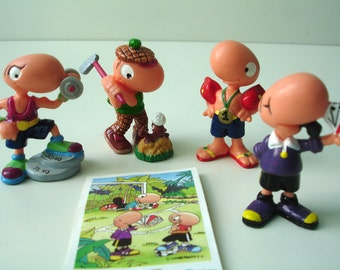 German Vintage Kinder Surprise Eggs Figurines - 4 pieces - Bill Body der Supersportler - Early 90s