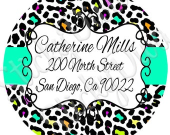 PERSONALIZED STICKERS - Custom Cheetah Address or Just Personalized Labels - Round Gloss Labels