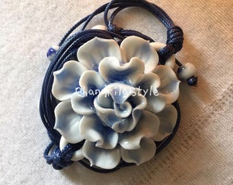 Ceramic Lotus Pendant Necklace in Blue or Multicolour Chinese traditional style
