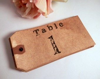 20 Table Numbers. Vintage Wedding. Anthropologie. Travel. Country Wedding. Rustic. Table Place Card. Luggage Tag Table Number. Wedding. DARK