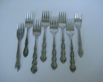 Vintage Flatware, Mismatched Salad Forks, Stainless Steel, Set of 8, Silverware, Vintage Home, Reclaimed Vintage