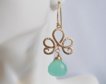 Gorgeous Aqua Green Onion Briolette Dangle Earrings