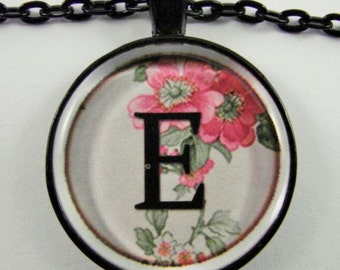 """Initial """"E"""" Necklace -- Spring pattern Personalized Letter E Necklace, Wedding Necklace, Bridesmaid Necklace, Hen Night Necklace, Friendship"""