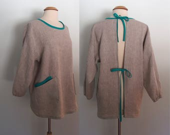 Gray and Teal Linen Painter's Smock with 4 Pockets, Long Sleeve Apron, Artist Apron, Flax Apron, Linen Apron, Mix Natural, Full Coverage