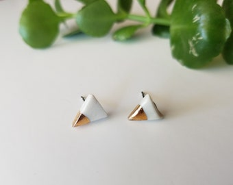 tiny triangle porcelain studs, gold dipped earrings