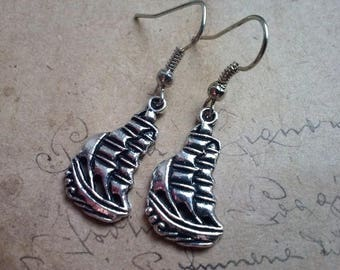 Sailboat earrings ~ silver ~