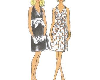 1960s Short Halterneck Dress with wide Obi Sash Belt Pattern Vogue 7594 B32 Sz 10