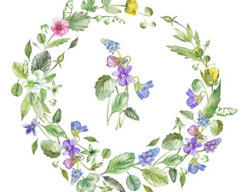 Spring Frame. Spring flowers. Watercolor. Hand painted clipart. 2 Png files without background - 300 dpi
