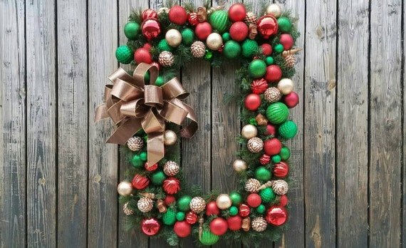 Christmas Wreath, Holiday Wreath, Ornament Wreath, Large Ornament Wreath With Red, Green, And Bronze Shatterproof Ornaments