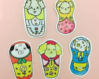 Nesting puppy stickers, Handmade puppy stickers, Hand drawn stickers, Planner stickers,Diary puppy stickers, Hobonichi dog stickers