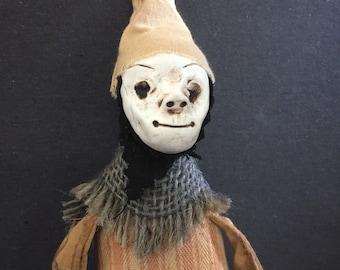 OOAK Folk Art Doll Macabre Gothic  Softie Handmad Figure Witch