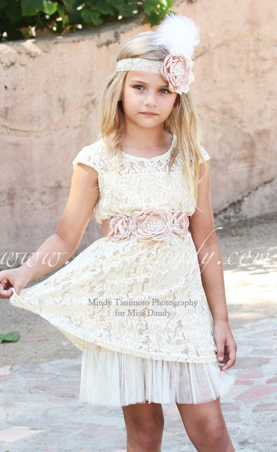 Lace Flower Girl dress , Lace Flower Girl Dress Set- Lace Champagne flower girl dress & Sash Belt -Rustic Girls Dress- Junior Bridesmaid