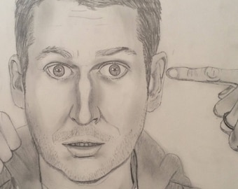 Scott Aukerman Pencil Portrait Print with Frame