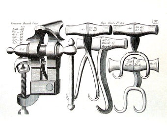 18th - 19th Century Tools - Common Bench Vice, Bag Hooks, Cotton Hooks, Table Vices - 1993 Vintage Book Page - 9.5 x 7.5