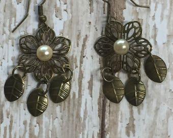 bronze and pearl dangle earrings