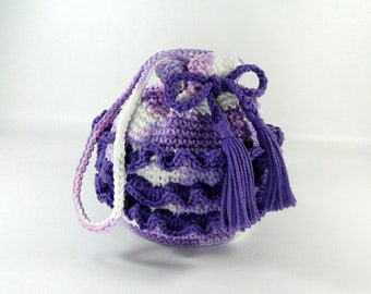 Ruffled Purse - Girl's Ruffled Purse - Little Girl's Purse - Crochet Purse - Make-up Bag - Cosmetic Bag - Lavendar, Lilac & Amethyst