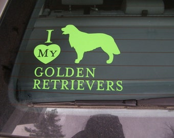Vert GOLDEN RETRIEVER, chien vinyle autocollant Silhouette de chaux ou de choisir votre couleur