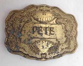 Vintage Belt Buckle Pete Name Buckle Western Styling American