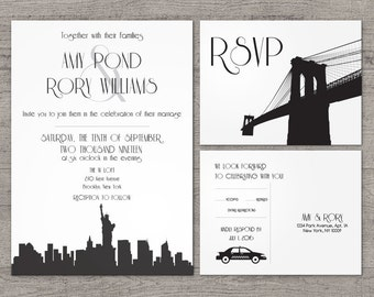 Printable New York City Invitation Wedding Party Special Event Flat Other Cities available City Skyline NYC Hometown Travel