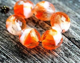 12mm Orange glass beads Czech glass Orange White beads Fire polished large round ball beads - 4Pc - 1078