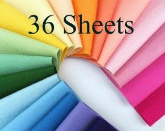 Wool Felt Fabric, CHOOSE THIRTY SIX, 8x12 Sheets, 100% Merino, Wool Felt Assortment, Toxin Free, Colorfast, Gift Set, Bulk Felt