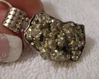 """Pyrite (Natural) 925 Antiqued Sterling Silver Necklace 18"""""""