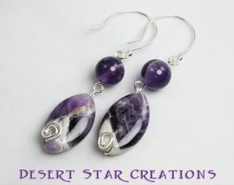 Purple Amethyst Gemstone Drop Earrings Sterling Silver and Chevron Accented, Last Pair!