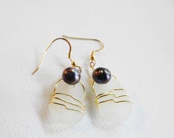 Puerto Rico Sea Glass Earrings, Goldwrapped Seaglass Earrings, Genuine White Sea Glass Dangles, Seaglass Jewelry, Girlfriend Gift