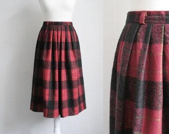 Vintage midi length tartan skirt