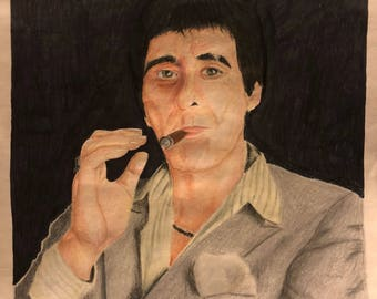 Scarface 11X14 Colored Pencil Drawing