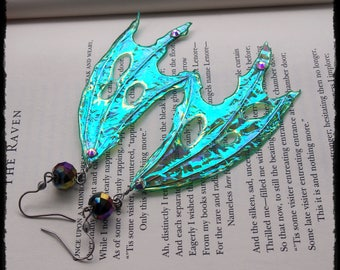 Blue Green Dragon Faery Wing Earrings - Ready to Ship - Gothic Fantasy Holographic Halloween Gift Cosplay Festival