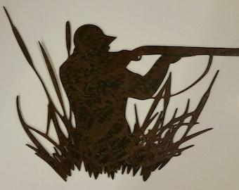 Duck hunter metal art, hunting gifts, duck hunting art, hunting metal art, wildlife metal art, hunting home decor,