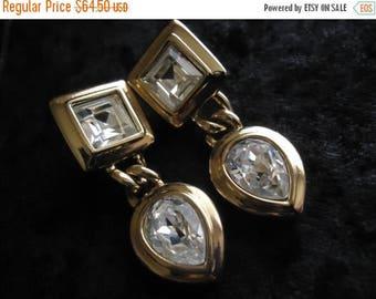 ON SALE High End Sal Vintage Rhinestone Earrings Mid Century Hollywood Regency 1950's 1960's  Designer Signed