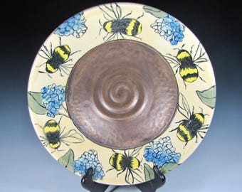 bowls Pottery bowl, fruit bowl , salad bowl, bees pottery , modern home decor , dinnerwares ceramic - In stock