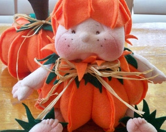 Dinky Baby Pattern 128 - Lil Punkin Head - 7-9 inch sitting doll and pumpkin - PDF Pattern - Instant Download