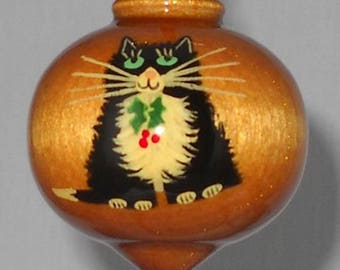 Cat Christmas Ornament, Hand Painted Wooden Ornament, WBO-57