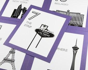 Las Vegas Table Number Wedding Decor Reception Sign Cards Landmark Icons Made to Order Nevada Travel Destination