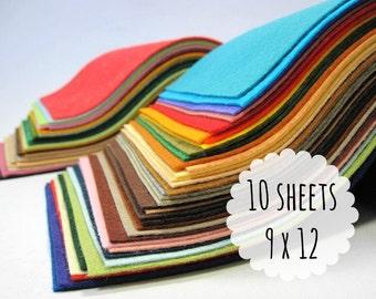 Wool Blend Felt Sheets, 9 x 12 inches - Felt Fabric - You Choose 10 Colors - Felt Crafts - Craft Supply