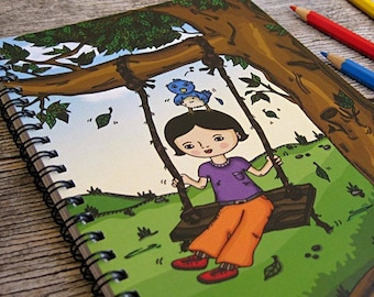 Little Mo and Twigs Notebook Sketchbook - 50 bound pages recycled paper, for sketch, writing, school