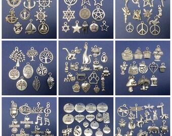 BARGAIN 100pcs Bulk Mix Lot Tibetan Silver Charms / Pendants  - Group B